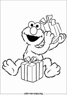 elmo coloring page/ printout holding presents
