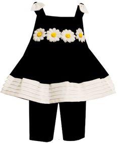 Bonnie Jean Toddler Girls Daisy Trim Capri Set