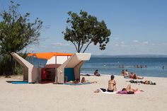 mobile beach library by matali crasset in istres, france - designboom
