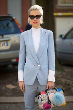 Fashion Week Street Style.Linda Tol in baby blue with a super cute Fendi bag at Milan Fashion #MFW