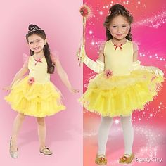 Be Belle! Put together an ensemble that makes her feel like dancing ... tutu dress + magic wand, gloves, tights plus official Beauty and the Beast costume slippers. Click for more customizable Disney Princess costume ideas! #BeACharacter