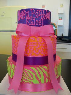 Neon Animal print cake