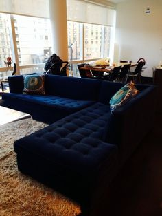 $6500 Mitchell Gold Navy Blue Velvet Button-Tufted  Jordan  Sectional Sofa | Home : blue leather sectional sofa - Sectionals, Sofas & Couches