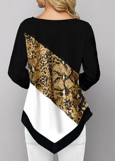 Women Fashion Printed Casual Irregular Hem Round Neck Sleeves Plus Size Leopard Print T-Shirt Loose Pullover Autumn Winter Blouse Winter Blouses, Plus Size Tops, Fashion Prints, Pull, Blouse Designs, Knitwear, Fashion Dresses, Couture, Quarter Sleeve