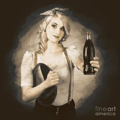Retro advert. Grunge photo of a vintage pinup waitress giving cola bottle at service station by Ryan Jorgensen