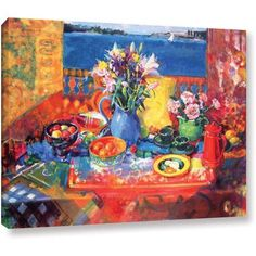 Peter Graham The Balcony Table Gallery-Wrapped Canvas, Size: 24 x 32, Red