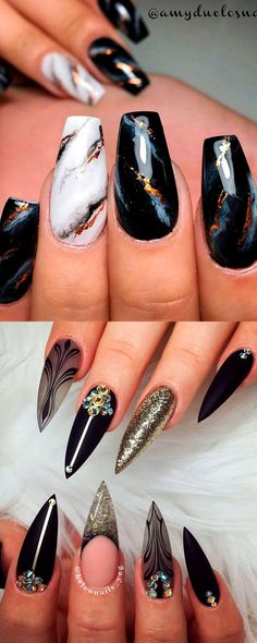 Cute black stiletto nail designs with gold glitter suggestions, black marble nails concept. , Cute black stiletto nail designs with gold glitter suggestions, black marble nails concept. Cute black stiletto nail designs with gold glitter sugge. Black Marble Nails, Black Stiletto Nails, Silver Glitter Nails, Black Nail Art, New Nail Art, Gold Nails, Black Chrome Nails, Glitter Wine, Art Nails
