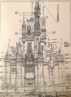 Here's the south elevation architectural drawing for Magic Kingdom's Cinderella Castle!