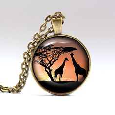 Giraffe jewelry Animal necklace Sunset charm RO252 by UKnecklace