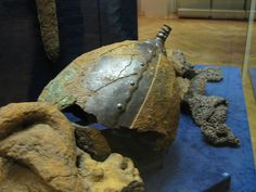Helm and chain mail from Gulbishche burial mound (Chernigov, Ukraine), grave of a warrior (cremation). viking helm and chain mail