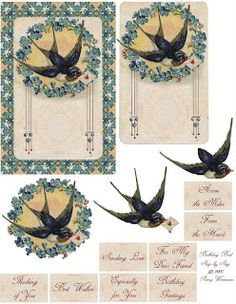 Vintage Swallow Journal Cards and Embellishments ~ MI BAUL DEL DECOUPAGE