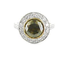 An White and Yellow Gold, Cognac Round Brilliant Cut Diamond Halo Ring Gold Diamond Rings, Halo Diamond, Diamond Engagement Rings, Halo Rings, Vintage Rings, Colored Diamonds, Jewelry Collection, Fancy, Jewels