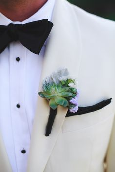 Succulent and Lavender Statice Flower Boutonniere | Eyes 2 See https://www.theknot.com/marketplace/eyes-2-see-scottsdale-az-877643 | Arizona Biltmore | Table Tops, Etc. | Tom James