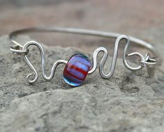 JuicySterling Silver and Lampwork Bangle by JenCameronDesigns,