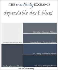 collection of dependable dark blue paint colors {Color Palette Monday} The Creativity Exchange Hale Navy and Old Navy are my favorite dark blues. Blue Paint Colors, Favorite Paint Colors, Blue Colour Palette, Dark Blue Color, Interior Paint Colors, Paint Colors For Home, House Colors, Navy Paint, Burgandy Color