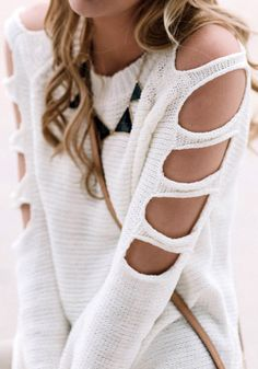 DIY Refashion Cutout Sleeves Knit Goodwill Sweater (Inspiration Only. No Pattern or Instructions.)