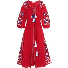 MARCH11 Kilim embroidered linen maxi dress (€785) ❤ liked on Polyvore featuring dresses, march11, maxi dress, red, red waist belt, waist belt, embroidered maxi dress, loose fitting maxi dresses and linen dress