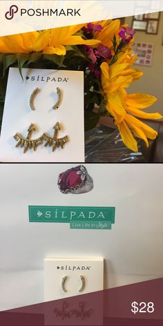 Silpada earring duo Brass and crystals ear crawlers and earring jackets the jacket can be worn two different ways such a cute set😍 Silpada Jewelry Earrings