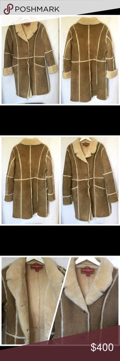 """Sundance Beige shearling coat Sundance long genuine  shearling coat in beige. Outside is suede finish. Shearling is in natural color. Two pockets in front. Never worn. The label indicates size 14p but runs small and feels like 12. Length 37"""" sleeve length 27 1/2"""" (when unfolded) and shoulder width 19"""". Sundance Jackets & Coats"""