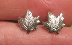 Maple Leaf Earrings ( posts) Silver Tone $2,00