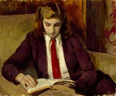 Henrietta Reading by Henry Lamb Date painted: 1949 Oil on canvas, 50.8 x 61 cm Collection: Royal Academy of Arts