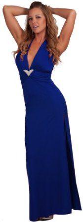 Sleeveless Halter Style Side Slit Rhinestone Brooch Evening Gown Maxi Dress,£37.99 [UK & Ireland Only]