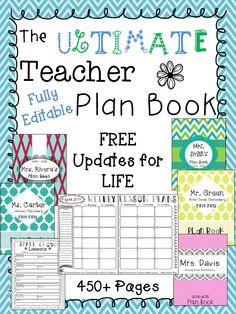2014-2015 } The Ultimate Teacher Plan Book - 100% Editable - FREE Plan Books for LIFE!!!! 450+ Pages