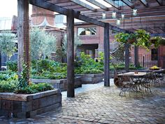 Visit The Grounds of Alexandria and experience for yourself the magnificent vibe of heritage recycled brick. Porches, Restaurant Vintage, Industrial Restaurant, Decks, The Grounds Of Alexandria, Alexandria Sydney, Recycled Brick, Brick Paving, Pergola Patio