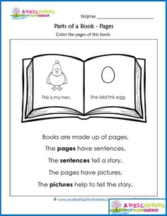 Parts of a Book - Worksheets & Vocabulary Cards by A Wellspring of Worksheets Kindergarten Language Arts, Kindergarten Books, Kindergarten Worksheets, Science Worksheets, Classroom Language, Preschool Printables, Library Lesson Plans, Library Skills, Library Lessons
