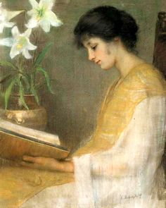 Reading in the Light with Lilies