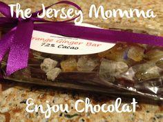 Enjou Chocolat, Morristown, NJ Ginger Orange Peel dark chocolate bars