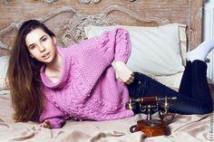 Купить Вязаный свитер «Королевская коса» - розовый, свитер, вязаный свитер, женский свитер