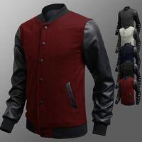 Hombres libres del envío slim Fit caliente algodón del Collar del soporte de manga larga bolsillo empalme de cuero de la PU botón de mama una chaqueta de la capa