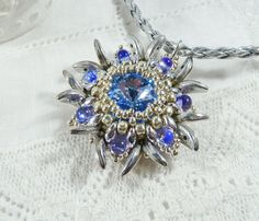 Snowflake Necklace Blue Flower Pendant Edelweiss Necklace