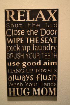 Bathroom Rules Subway Art. $40.00, via Etsy.