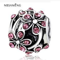 Nbsameng spedizione gratuita plum flower blossom con il cristallo del branello di fascino europeo misura branelli braccialetto delle donne & bangle gioielli fai da te