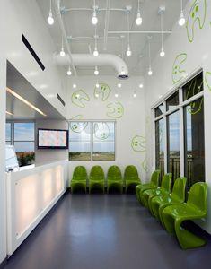 Daren Chen from Evoke Design kindly send us this playful pediatric dental office located in the city of Miramar, Florida. Dental Office Design, Office Interior Design, Office Interiors, Interior Decorating, Brainstorm, Office Reception Design, Waiting Area, Pediatrics, Office Decor