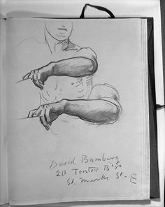 """John Singer Sargent - Two Studies of Left Arm for Seated Angel at Right, """"Israel and the Law,"""" Boston Public Library"""