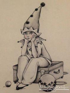 clown pencil sketch