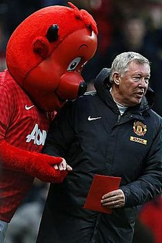 CAN YOU FEEL THE LOVE? ... even the Manchester United mascot gets in on the act