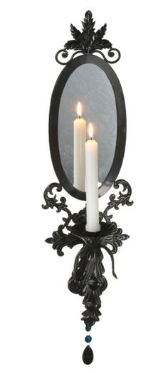 Candle sconce with mirror backplate