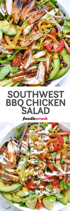 Healthy Salad Recipe | Southwest BBQ Chicken Salad Recipe | Healthy CPK BBQ Chicken Salad | Black Bean and Chicken Salad Recipe | BBQ Sauce and Ranch Dressing Chicken Salad Recipe | Chicken and Avocado Salad Recipe | Barbecue Chicken Salad Recipe