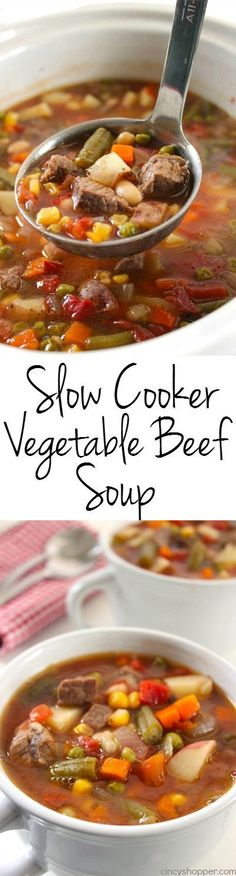 4 Points About Vintage And Standard Elizabethan Cooking Recipes! Slow Cooker Vegetable Beef Soup - Loaded With Lot So Vegetables, Beef And Tons Of Flavor Perfect Fall And Winter Soup Made Right In Your Crock-Pot. Crock Pot Recipes, Slow Cooker Recipes, Beef Recipes, Cooking Recipes, Healthy Recipes, Crockpot Meals, Recipies, Crock Pots, Crock Pot Soup Recipes