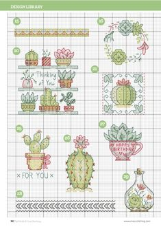 Cactus Cross Stitch, Small Cross Stitch, Cross Stitch Flowers, Cross Stitch Designs, Cross Stitch Patterns, Cross Stitch Boards, Cross Stitch Bookmarks, Cross Stitching, Cross Stitch Embroidery