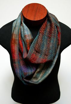 Handwoven Bohemian Twill and Spaced Infinity Scarf made of tencel 0aa1824a00