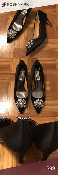 Brand new BADGLEY MISHCKA gardenia black satin 6 Brand new perf condition heels by badgley mischka. The style name is gardenia. Badgley Mischka Shoes Heels
