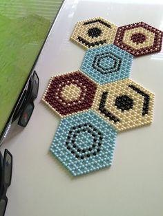 Handmade beaded mat bead doilyhexagon shaped mat by KattysMall Hexagon Shape, Bead Art, Perler Beads, Bead Weaving, Doilies, Connect, Beading, Crochet Earrings, Shapes