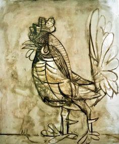 Picasso- The rooster (le coq) Pablo Picasso Drawings, Kunst Picasso, Art Picasso, Picasso Paintings, Animal Paintings, Picasso Images, Henri Rousseau, Henri Matisse, Paul Gauguin