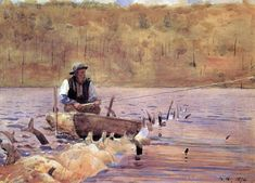 Early British & American Public Gardens & Grounds: American Art Winslow Homer (American artist, Man in a Punt Fishing Watercolor Landscape, Landscape Paintings, Tree Paintings, Watercolor Paintings, Winslow Homer Paintings, Outdoor Magazine, Watercolor Sketchbook, John James Audubon, Oil Painting Reproductions
