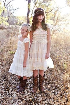 Olivia! Rustic Flower Girl Dress Ivory Champagne by CountryCoutureCo